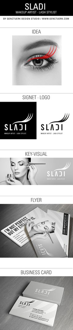 SLADI Makeup Artist · Lash Stylist Logo, Branding, Print, Flyer, Business Card