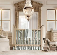 Restoration hardware opulent yet simple nursery style Antique Beds, Rh Baby, French Antiques, Horse Art, Cribs, Cozy, Inspired, Toddler Bed, Belle