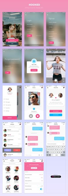 Hooked is a FREE UI Kit for Adobe XD, designed with Adobe XD. 14 cool and colourful screens, to be used in your personal projects. Download this freebie now