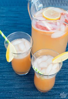 Pink Grapefruit Lemonade. A refreshing summertime drink with grapefruits and lemons. A great way to quench your thirst with something healthy.