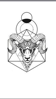 Geometric animal tattoo  Aries ram - geometric background