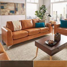Bastian Aniline Leather Caramel Brown Sofa by MID-Century Living Living Room Sofa, Living Room Furniture, Living Room Decor, Living Rooms, Leather Furniture, Sofa Furniture, Furniture Outlet, Online Furniture, Furniture Deals