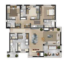 House Floor Design, Modern House Floor Plans, Bungalow House Design, Small House Plans, Porch House Plans, Sims House Plans, House Layout Plans, House Layouts, House Construction Plan