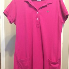 Like new Lacoste dress Hot pink Lacoste dress with pockets/ fits a size large to an extra large Lacoste Dresses Midi