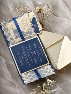 Navy Wedding Invitation 20 Lace Wedding por forlovepolkadots
