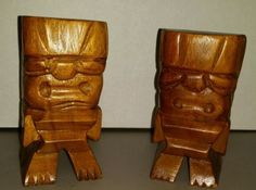HawaiianTiki-Totem-wooden-carved-statue-Alii-vintage-set-of-2-free-shipping