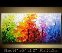 contemporary wall art, Palette Knife Painting,colorful tree painting,wall decor…
