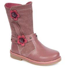 Δερμάτινες μπότες παιδικές με λουλούδια Ροζ - http://paidikapapoutsia.gr/dermatines-botes-pedikes-me-louloudia-roz/