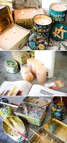 bunten behälterdosen als kerzenhalter benutzen, diy kerzen