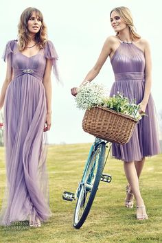 kelsey rose bridesmaids 2016 pastel mix match mismatched bridesmaid dresses lavender wisteria purple lilac mauve romantic flutter sleeves tulle gown