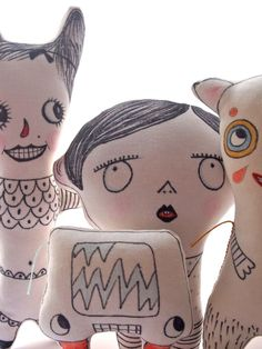 A group of hand drawn cloth dolls, I imagine these as a little gang of spooky trick or treat kids. I was sketching lots of ideas this weekend and decided to transfer some of them directly on…