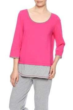 Active wear t-shirt with double length hemline, loose fit, boxy shape, scoop neck and 3/4 sleeves.    Fade Away Tunic by Neon Buddha. Clothing - Tops - Long Sleeve Clothing - Tops - Tunics Rhode Island South Carolina