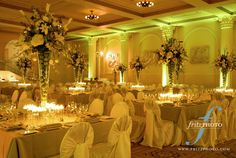 Fred And Suzanne Fields Ballroom Portland Art Museum Wedding Reception Green Yellow