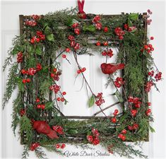 A gorgeous and unique wreath for the holidays.  This rustic square wreath would make an amazing addition to your Christmas decor. Hang indoors or on your front door!