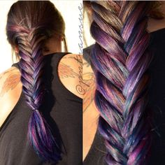 Messy fishtail braid and rainbow hair color by Paige Transue Ombre Balayage Hair Painting Mermaid ha Oil Slick Hair Color, Hair Color Blue, Cool Hair Color, Purple Hair, Hair Colors, Colored Hair, Undercolor Hair, Messy Fishtail Braids, Underlights Hair