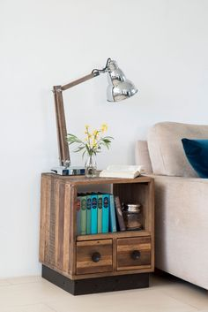 With a rustic recycled style that makes a clear environmental statement, the practical Flea Market Lamp Table is the perfect choice to invest your home with natural character. Market Table, Reclaimed Timber, Lamp Table, Wooden Furniture, Luxury Living, Floating Nightstand, Rustic, Living Room, Natural