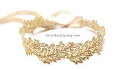 Gold Leaf Metallic Lace on Champagne Satin Sash