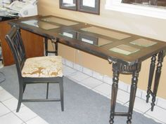 Another vintage door desk with vintage table legs.