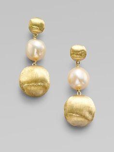 Marco Bicego: Freshwater #Pearl & 18K Yellow Gold Earrings