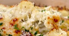 Cauliflower Casserole Recipe Add a healthy twist to your casserole with this easy to make dish. The kids will appreciate the cheesy goodness, while grown-ups will appreciate the bonus serving of veggies. Parmesan, mozzarella and milk add the creaminess Cauliflower Breadsticks, Cheesy Cauliflower, Cauliflower Casserole, Cauliflower Recipes, Cauliflower Tortillas, Potato Casserole, Roasted Cauliflower, Chicken Casserole, Side Dish Recipes