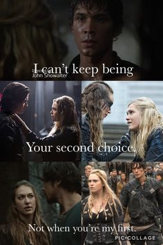 Ok do you want to know what I hate about the show? Bellarke is flipping canon in the books, Finn, Lexa and Echo don't even exist in the books. They keep ruining my Bellarke ship and I'm fed up with it.<<< FINALLY SOMEONE GETS IT The 100 Show, The 100 Cast, Clarke And Finn, The 100 Quotes, The 100 Characters, Best Tv Couples, Lexa The 100, Cw Series, Clexa