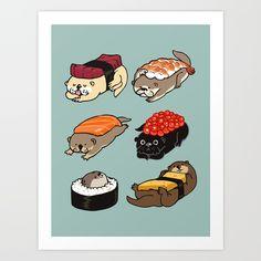 Sushi Otter Art Print