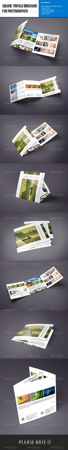 PSD Square trifold brochure template.All is layered,grouped,named.Editable layer.Smart object used,Easily you can replace your photo.Photo not included.Photo download link attached in help file.   Specifications:  - Size: 24×8 In & Fold size : 8×8 In - Pages: Trifold - Resolution: 300 dpi - Color mode: CMYK - Bleed: 0.25 in