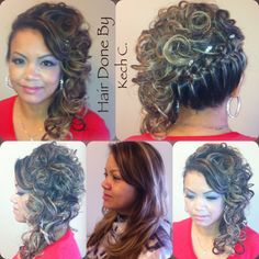 Here's Mrs. Barron with her Side Cascade Updo  with Loose Braid and Soft Curls  for Detail . Hair &MakeUp Done By Kech C. #SimplyGorgeous