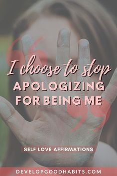"""""""I choose to stop apologizing for being me"""" - affirmation of personal growth See more affirmations of self love. These positive thinking affirmations will help you to feel better about yourself and not to be so critical but to find joy in your life. See (and use) these positivity mantras in your life. Before you can improve yourself, you need to love yourself and these self love affirmations will help you do that. #affirmations #selflove #selfcare #personalgrowth #mantra #affirmation Positive Mantras, Daily Positive Affirmations, Self Compassion Quotes, Self Improvement Tips, Care Quotes, My Emotions, Self Love Quotes, Best Self, Feel Better"""