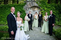 Beautiful bridal party at The Mount in one of the many gardens onsite!