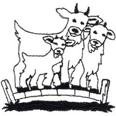 Animals Embroidery Design: Billy Goats Gruff Outline from Dakota Collectibles