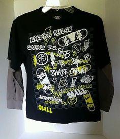 Boys Fast Track Sportswear Skater Graffiti Long Sleeve Shirt Medium