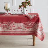 "Winter Village Jacquard Tablecloth, 70"" X 90"", Red"