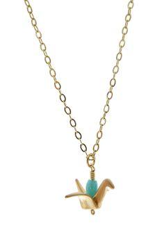 Mini Origami Bird Necklace on HauteLook