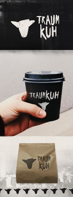 Logo design by nevergohungry for Traumkuh coffee. A minimalist icon is paired with custom hand-lettered typography. #branding #cafe