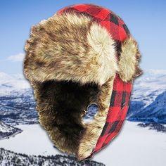 7a9bb62cd1b4f Lumberjack Red   Black Plaid Vegan Fur Ushanka Aviator Eskimo Trapper Hat