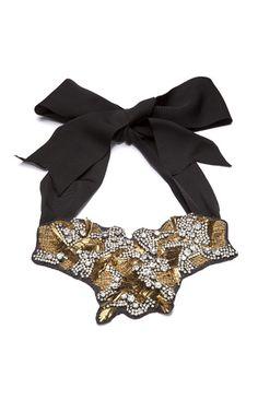 Vera Wang Gold Bullion and Crystal Bib Necklace