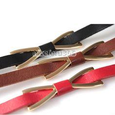 Women's Metal Skinny Bowknot Thin PU Leather Belt New Butterfly Waistband hot