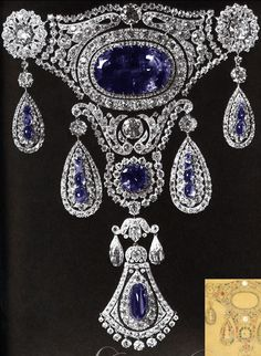 The Sapphires Agraffe of Grand Duchess Marie Pavlovna, 1910.    Tsar Nicholas gave this magnificent sapphire brooch with pendant to his wife in 1825.
