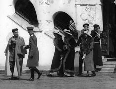 tzarevitch: Tzar Nicholas II with his daughters Olga, Tatiana, Maria and son Alexei in Tsarskoe Selo outside of Feodorovsky Cathedral.13 April 1913
