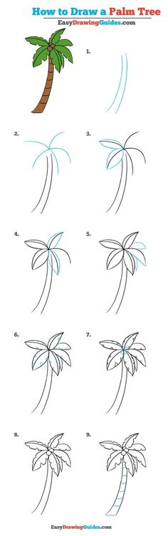 Learn How to Draw a Palm Tree: Easy Step-by-Step Drawing Tutorial for Kids and Beginners. #PalmTree #DrawingTutorial #EasyDrawing