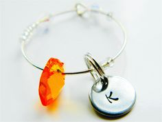 Charm with Orange Glass Crystal