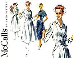 1950s Nurse Uniform Pattern Bust 32 McCalls 3419 by CynicalGirl
