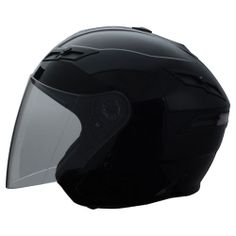 GMAX GM67 Helmet Gloss Black- open face with clear shield and tinted sunglasses