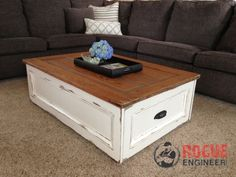 DIY Coffee Table with Storage | Free Plans | rogueengineer.com #DIYcoffeetable #LivingRoomFurniturePlans