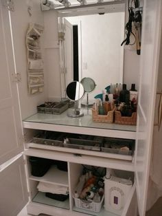 Armoire repurposed as a makeup station