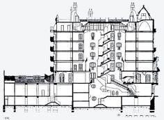 Casa Batllo, section, Antonio Gaudi Concept Board Architecture, Antonio Gaudi, Barcelona, Parametric Design, Famous Architects, Art Nouveau Design, House Drawing, House Design, How To Plan
