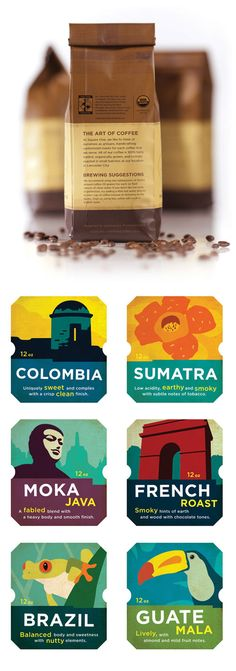 coffee packaging and suite of varied beans & roasts' labels .
