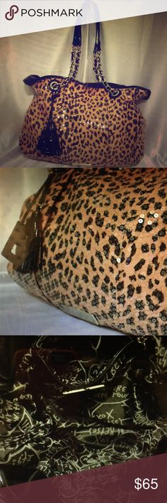 Leopard tan and black Betsey purse w/ Sequins Large purse cheetah/leopard Betsey Johnson Bags Hobos