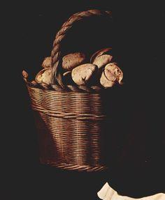 El Rey abdica, el pan queda - Cesto de pan, 1639, Francisco de Zurbarán